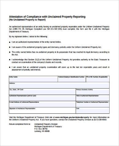 attestation of compliance form
