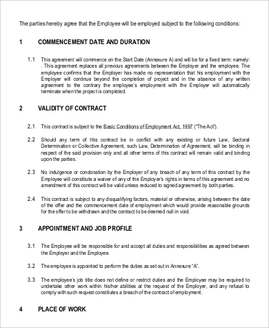 Employment Contract Sample - 9+ Examples In Word, Pdf