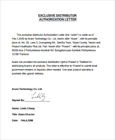 9 authorization letter samples sample templates for Exclusivity letter template