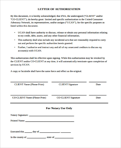 authorization notary letter
