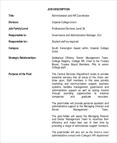 administration hr coordinator job description