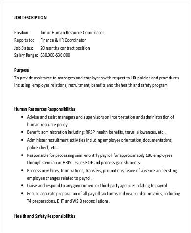Hr Coordinator Job Description | 9 Hr Coordinator Job Description Samples Sample Templates