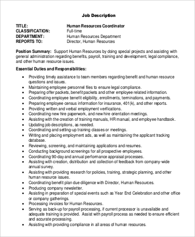 Hr Coordinator Duties Job Description