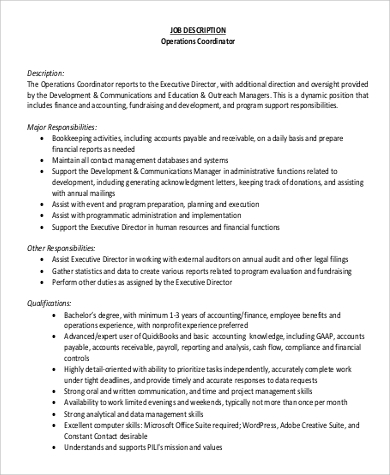 Sample Hr Coordinator Job Description   Examples In Word Pdf