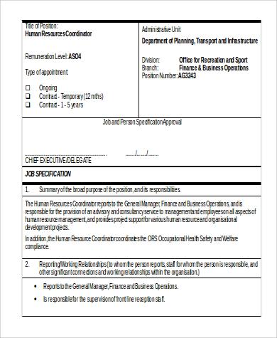 hr coordinator job description in word