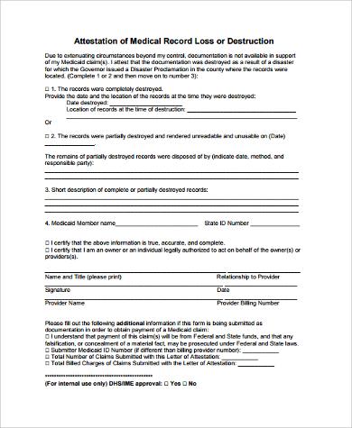 attestation form for medical record