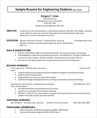resume format of engineering