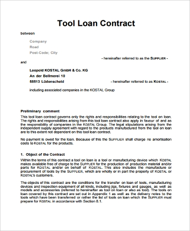 legal loan contract - Sample Lending Contract