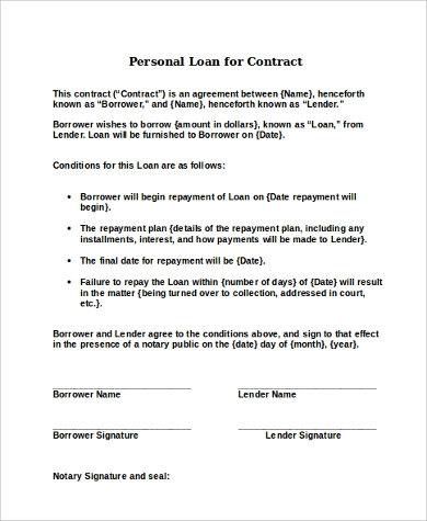 personal loan for contract