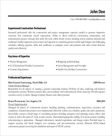 resume format construction