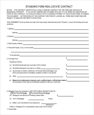 sample real estate contract1
