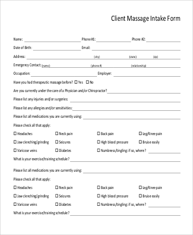 Sample Client Massage Intake Form