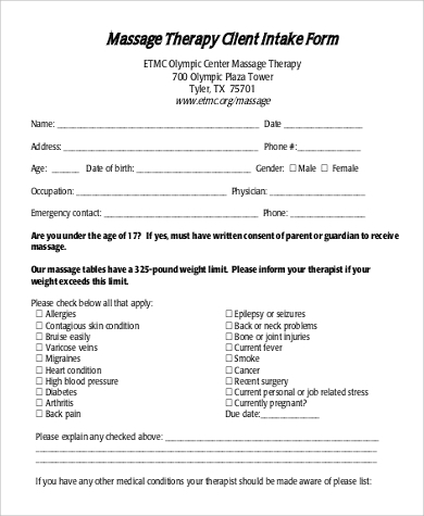 9 sample massage intake forms sample templates for Counselling consent form template