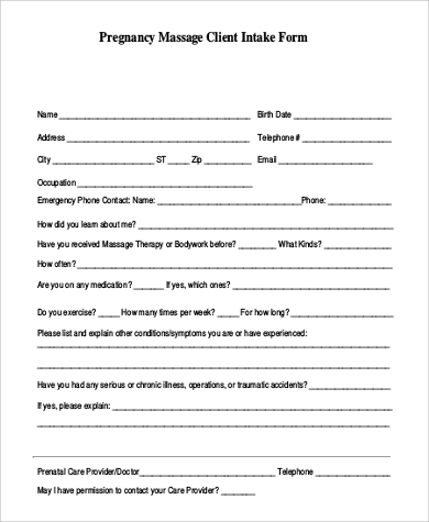 photograph about Printable Massage Intake Form referred to as Pattern Mage Usage Variety - 9+ Illustrations within Phrase, PDF