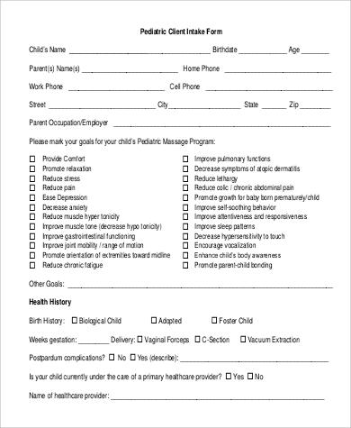 pediatric massage intake form