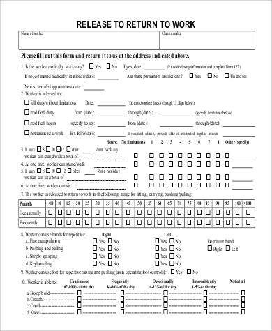 Sample Return To Work Form - 9+ Examples In Word, Pdf