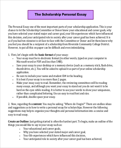 Personal Essay For Scholarship Examples. Write An Essay About
