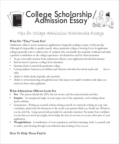 free sample college admission essays