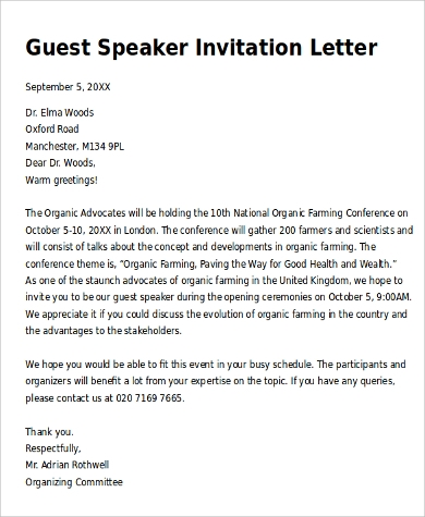 sample invitation letter for a guest speaker - Music ...