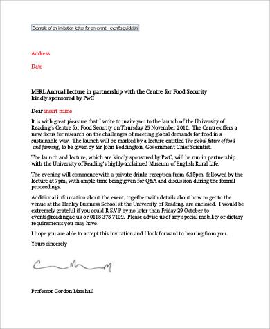 event invitation letter