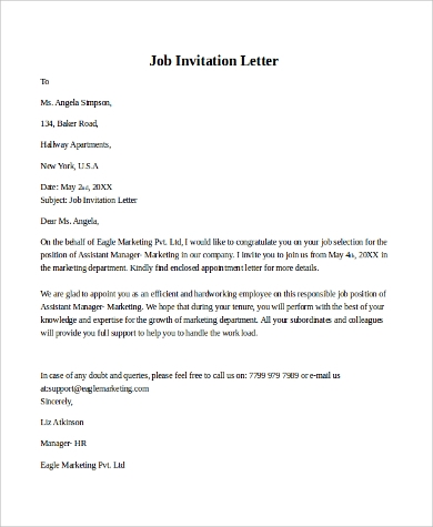 Sample invitation letter 9 examples in pdf word job invitation letter sample stopboris