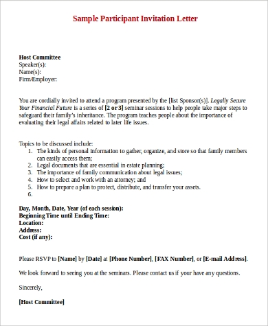 Sample invitation letter 9 examples in pdf word stopboris
