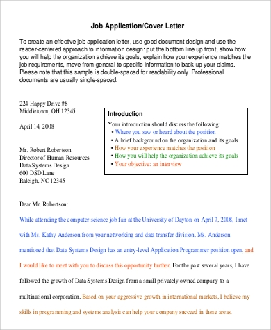 cover letter for non specific job - 9 sample printable job applications sample templates
