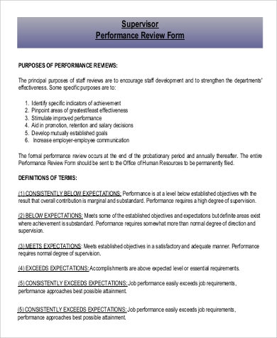 supervisor performance review form