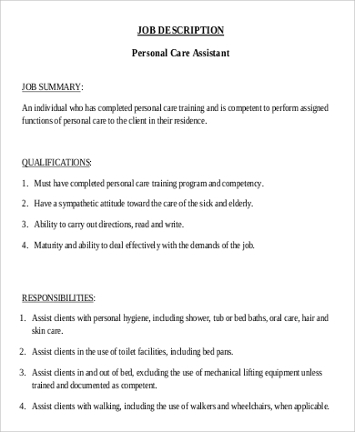 Delightful Sample PCA Job Description   9+ Examples In PDF