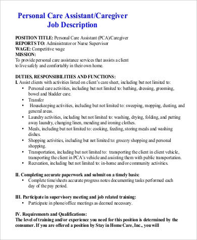 Pca Job Description Executive Personal Assistant Job Description