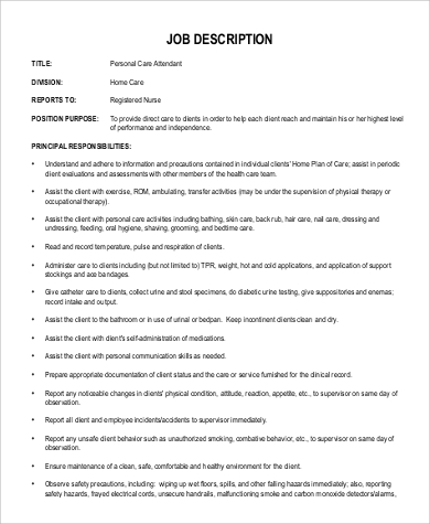 Sample Pca Job Description   Examples In Pdf
