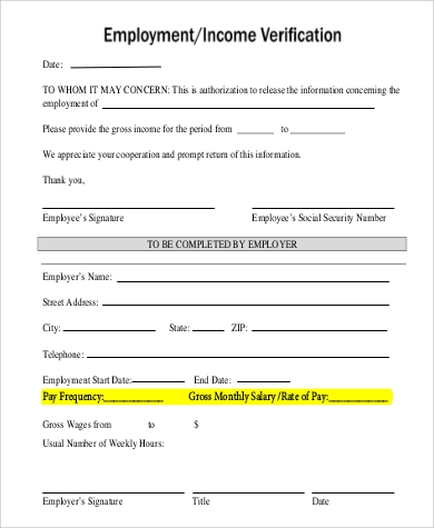 Sample Income Verification Form - 9+ Examples In Word, Pdf