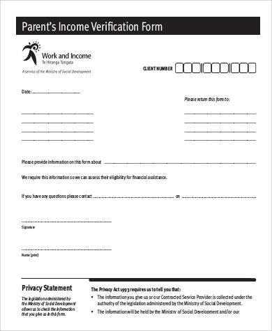 parent income verification form