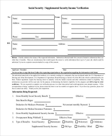 social security income verification form