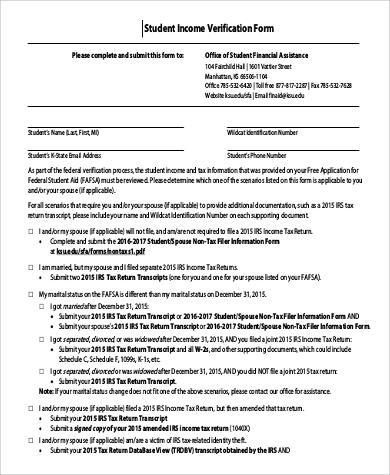 student income verification form