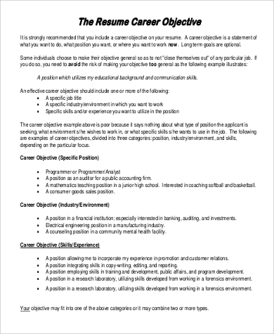 career overview resume examples