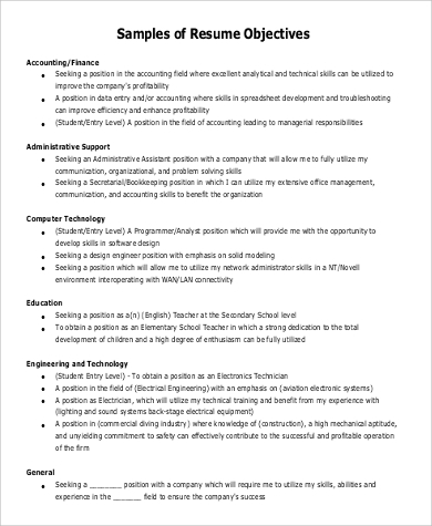 Resume Objective Statement Examples   Samples In Pdf