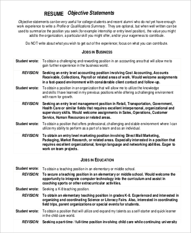 Free Resume Objective Statement For Student  Resume Goal Statements