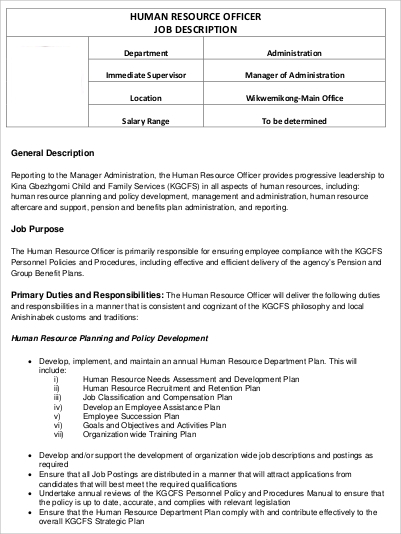 Human Resource Officer Job Description In PDF