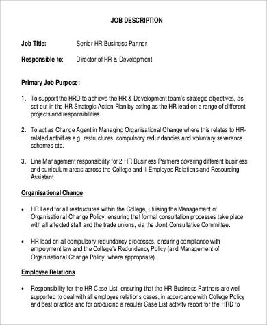 senior human resource business partnerjob description