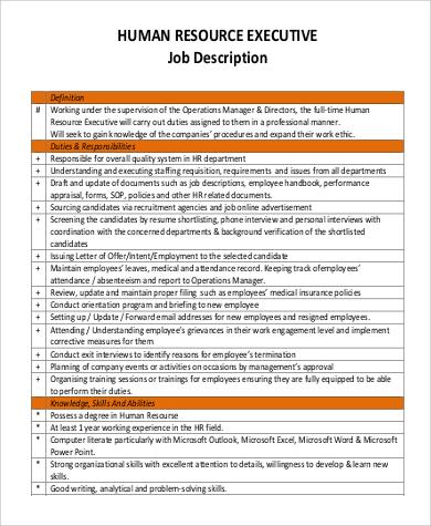 human resource executive job description