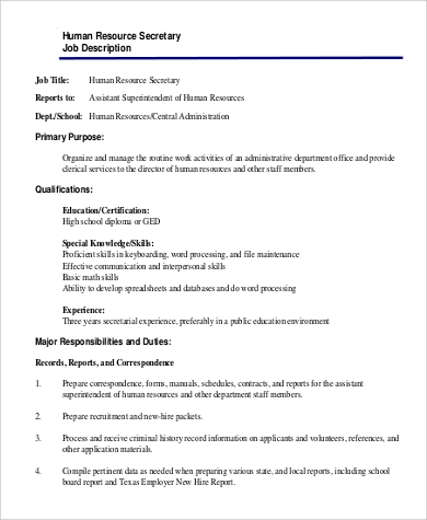 Sample Human Resource Job Description   Examples In Word Pdf