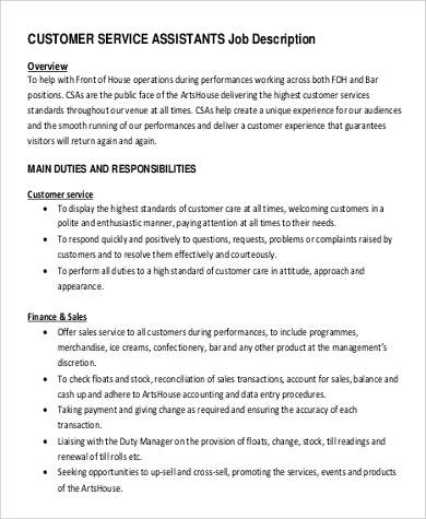 Customer Assistant Service Manager Job Description