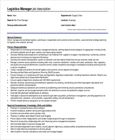 Sample Customer Service Manager Job Description - 9+ Examples In Pdf