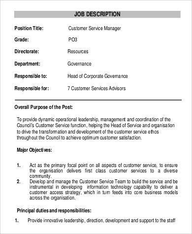 head of customer service manager job description