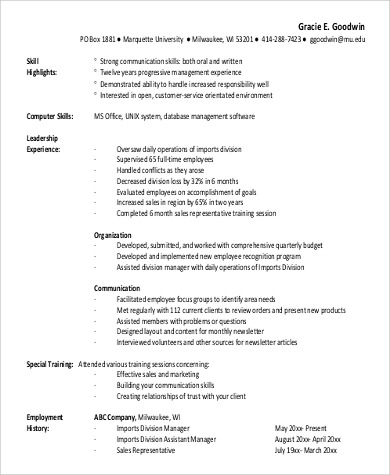 functional experienced resume