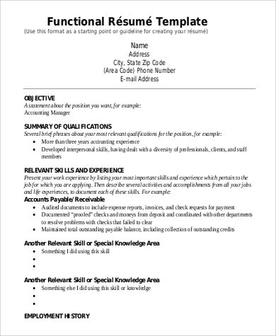 Free 9 Functional Resume Templates In Pdf Ms Word