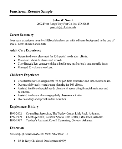 Functional Resume Sample   Examples In Word Pdf