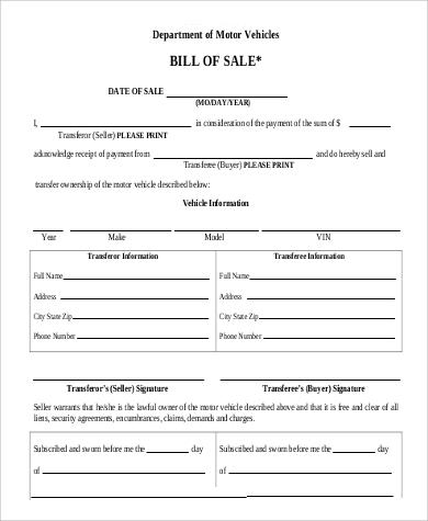generic dmv bill of sale example