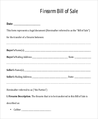 Sample Firearm Bill Of Sales   Free Sample Example Format Download